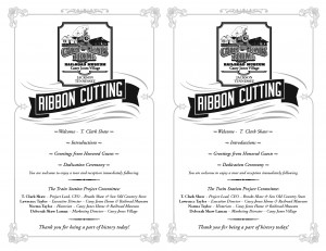 Program for the Ribbon Cutting Ceremony of the Casey Jones Home & Railroad Museum