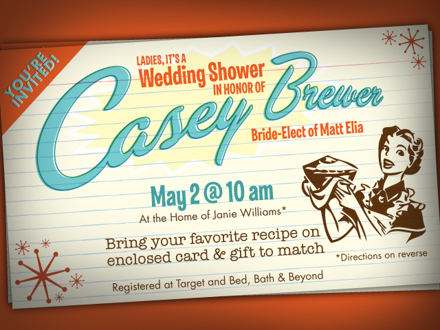Invitation for Casey Brewer's Wedding Shower