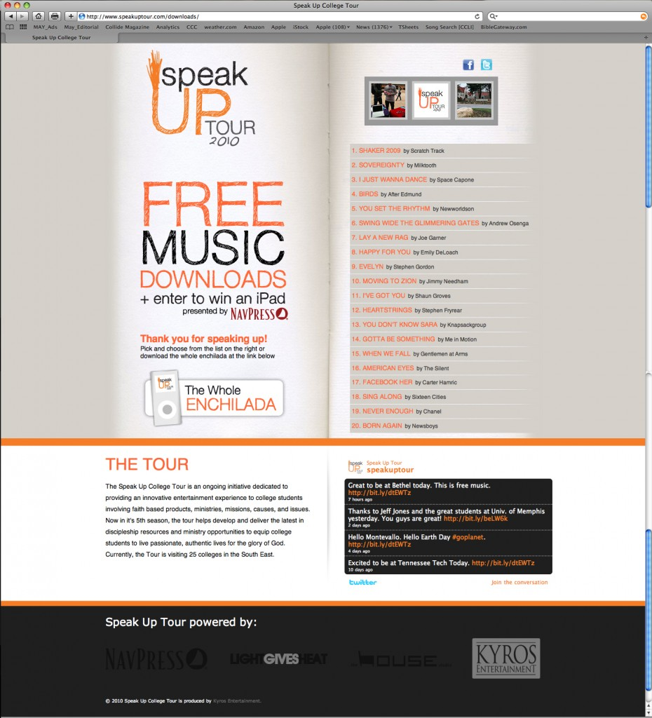 Downloads Page of Speak Up Tour's Web Site
