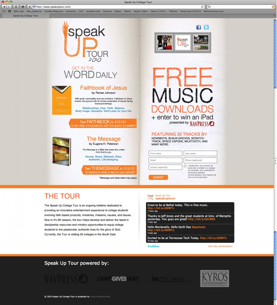 Landing Page for the Speak Up Tour